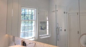 Frameless shower screen and mirror